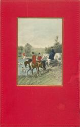 fox hunting, dogs in water, a rider leaves the water, another three (two men & a woman) in front of the lake,