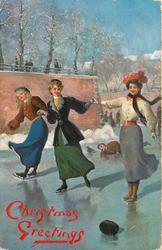 three women skate, man in background fallen on ice