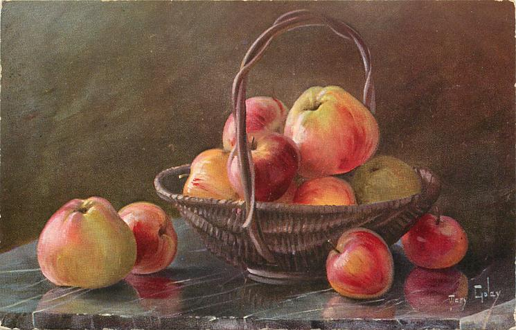 apples in basket, four on table