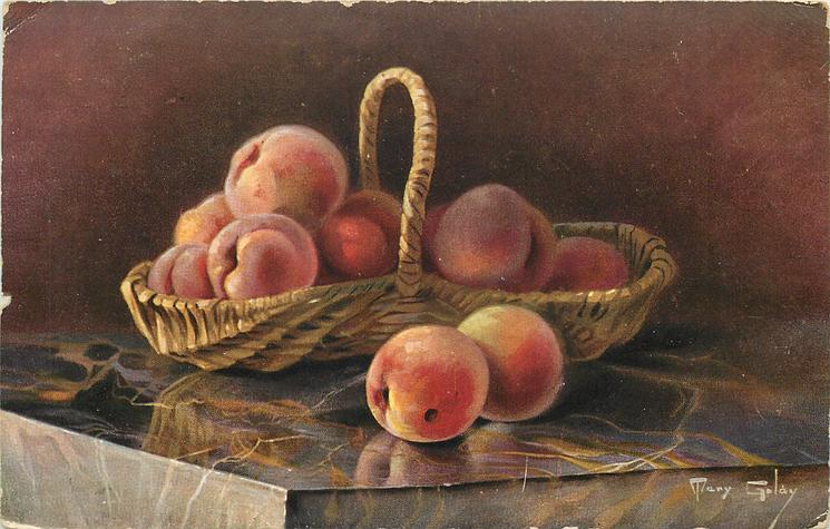 peaches in basket, two on table