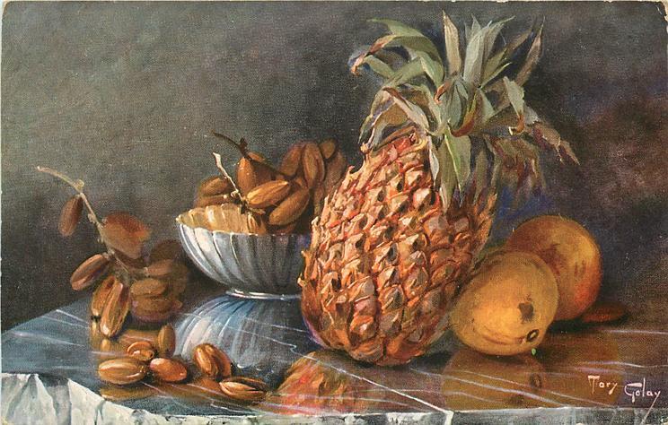 pineapple, peaches, dates