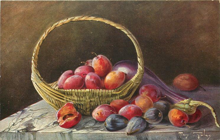 plums in basket, eggplant, a few figs