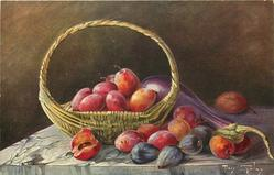 plums in basket, eggplant, a few figs