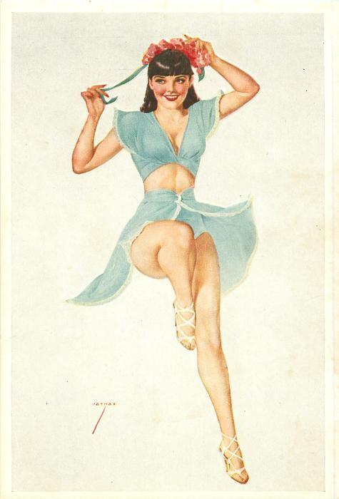 girl in pale blue adjusting her hair ribbon