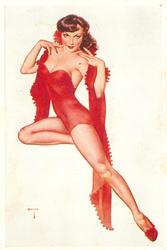 girl in red, hands on shoulders