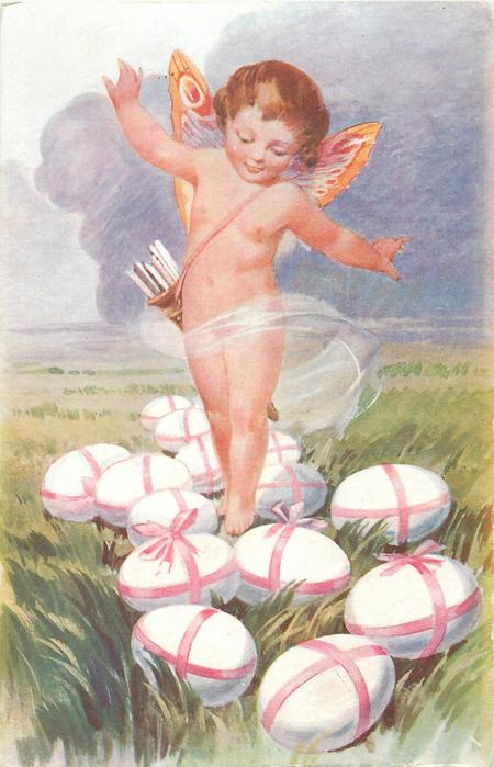 cupid stands among fourteen white eggs tied with pink ribbons, grassy scene, storm-cloud behind