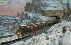 snowscene, steam train entering tunnel