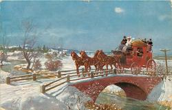 stage coach pulled by four horses on bridge over river, snowy scene