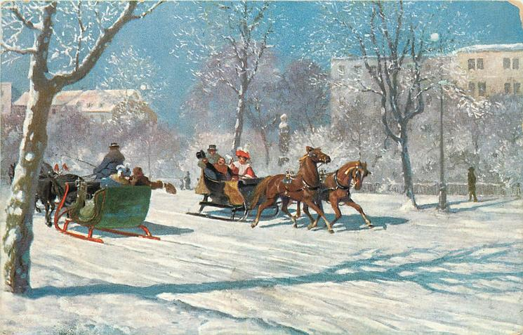 two horse sleighs pass, going in opposite directions, snowy city scene