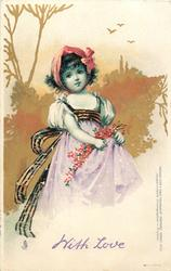 girl in lilac dress & white shoulders & red band in hair, flowers in skirt, clear sky with three distant birds