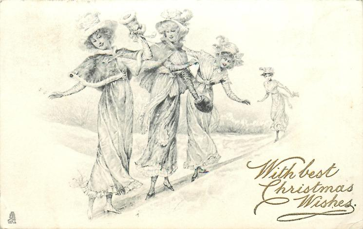 four elegantly dressed ladies slide down left barely able to keep their balance, snow scene