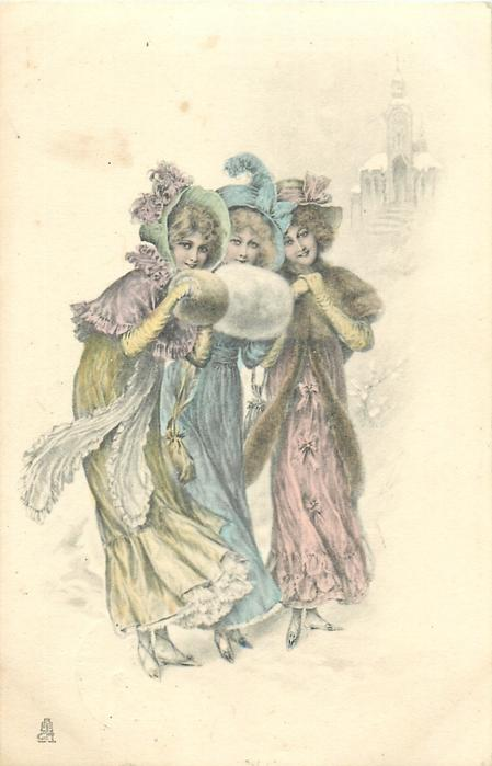 three young women stand in a line facing front/right, snow scene