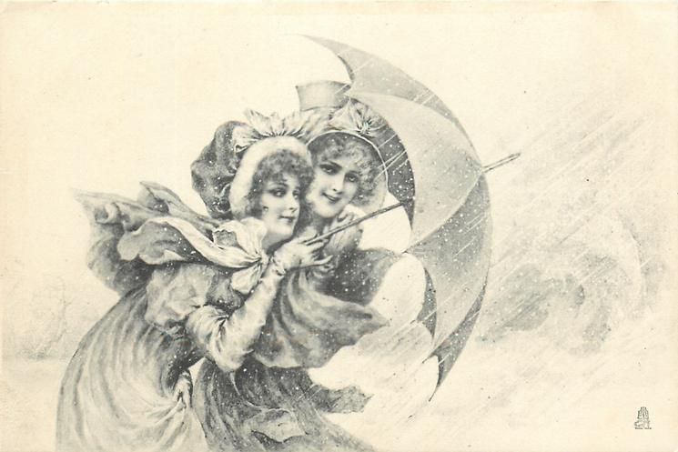 two pretty girls hold one umbrella against snow storm