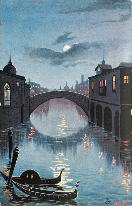 night scene, two gondolas tied to spar lower left, large bridge center