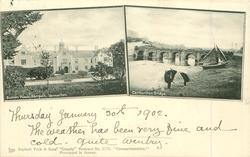 CARMARTHENSHIRE   2 insets, BISHOP'S PALACE, ABERGWILI, CARMANTHEN.//CARMANTHEN BRIDGE
