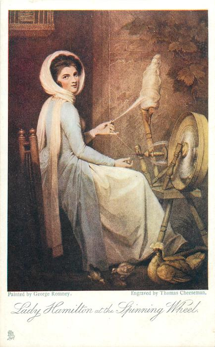 LADY HAMILTON AT THE SPINNING WHELL