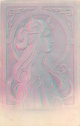 art nouveau style profile of ladies head & shoulders looking right, surrounding decoration geometric, flower crown