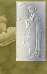 embossed pale lilac study of lady  of lady standing holding lyre, leaning on pedestal facing left