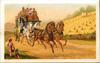 stage coach moves forward along road, two children lower left, wheat field right