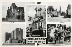 GUILDFORD AND DISTRICT 5 insets ST. CATHERINE'S CHAPEL/THE TOWN HALL/SHERE/GUILDFORD CATHEDRAL FROM SOUTH EAST/ABINGER HAMMER