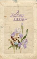 A JOYOUS EASTER  embroidered bird on nest among iris
