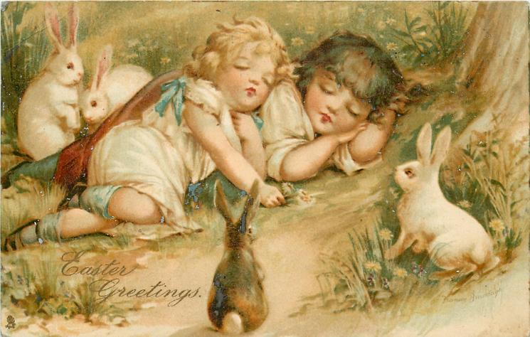 EASTER GREETINGS  two children sleep on ground watched by four rabbits
