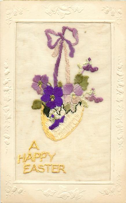 A HAPPY EASTER  embroidered hanging violets
