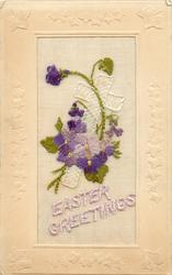EASTER GREETINGS  embroidered violets & cross