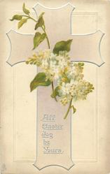 ALL EASTER JOY BE YOURS  pale violet cross, white lilac
