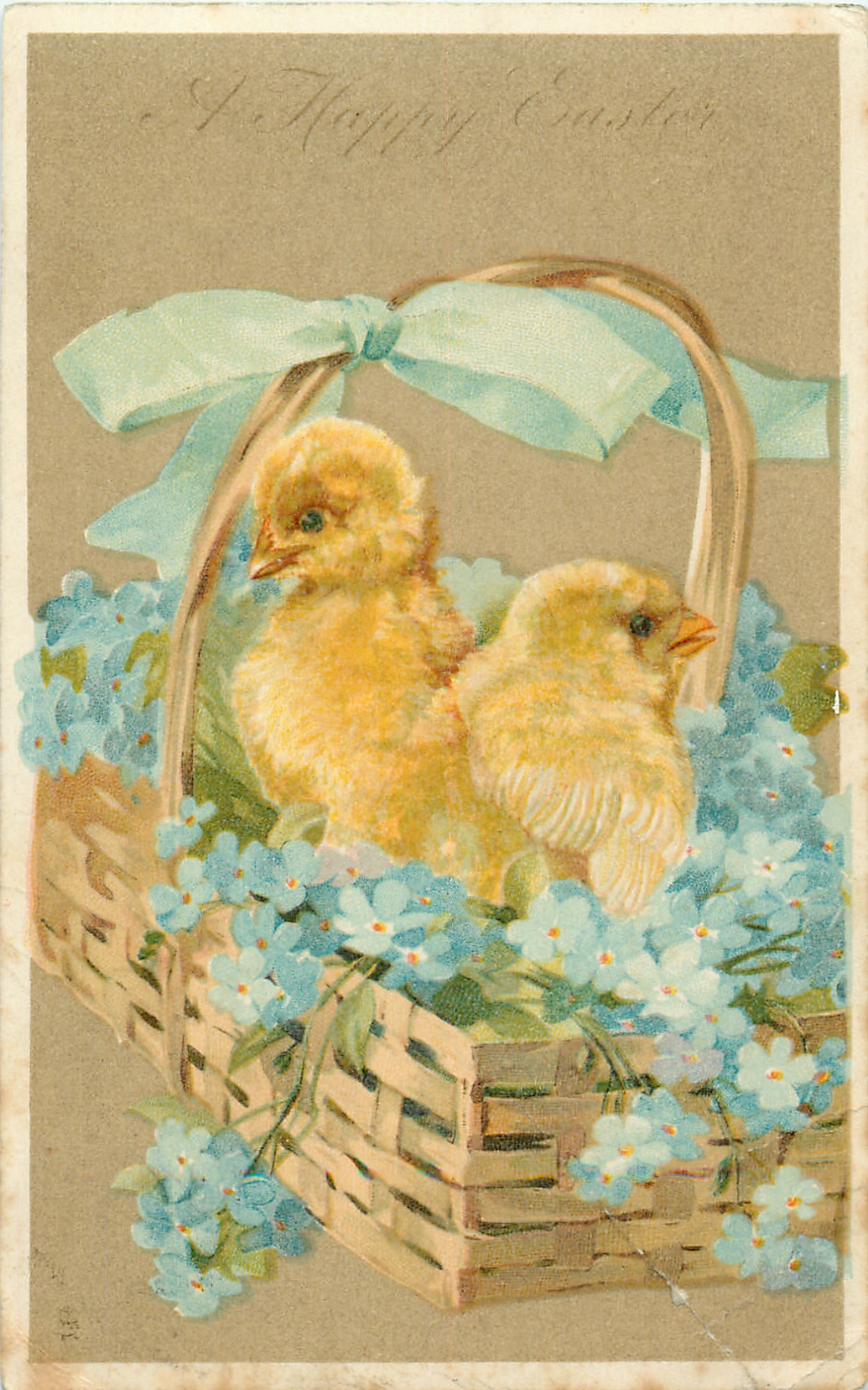 A HAPPY EASTER  two chicks in basket of forget-me-nots