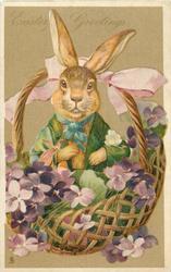 EASTER GREETINGS  rabbit dressed in green sits in basket of violets