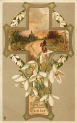 A BLESSED EASTER  snowdrops, insert in cross of man ridng toward church