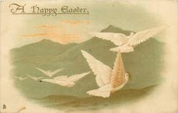 A HAPPY EASTER  six white doves fly right/back