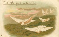 A HAPPY EASTER-TIDE  five white doves fly front/left