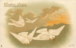 EASTER PEACE  five white doves fly front/right