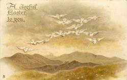 A JOYFUL EASTER TO YOU  thirteen white doves fly front