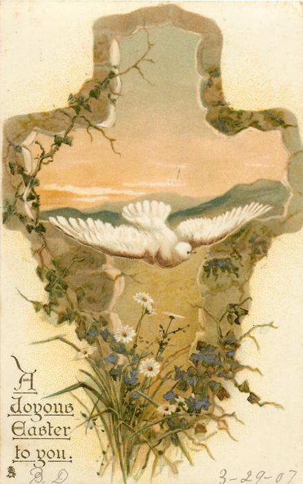 JOYOUS EASTER TO YOU  single dove, rural insert in cross
