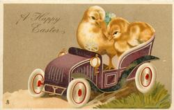 A HAPPY EASTER  two chicks in toy car facing left