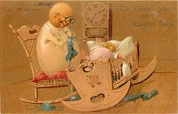 TO GREET YOU ON  EASTER DAY  Egg-mother knits, Egg-baby in cradle