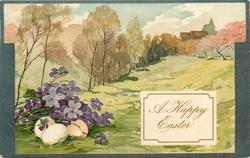 A HAPPY EASTER  meadow, trees left, exaggerated violets & three eggs left