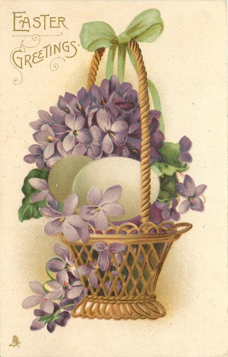 EASTER GREETINGS  violets in basket & two white eggs