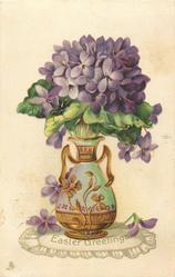EASTER GREETINGS  ornate vase full of violets