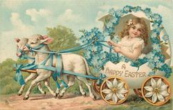 A HAPPY EASTER  girl drives egg-cart pulled by two lambs