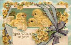 EASTER HAPPINESS BE YOURS  chicks in box, purple ribbon, primroses