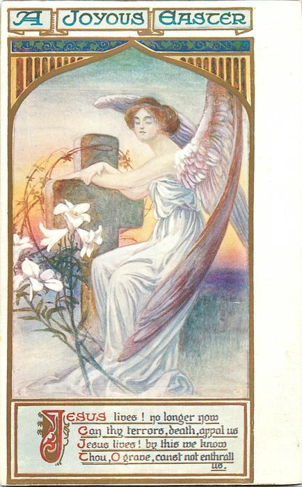 A JOYOUS EASTER  angel, cross & lilies