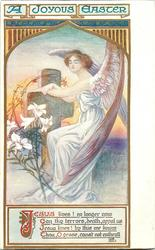 A JOYOUS EASTER  angel, cross & lilies