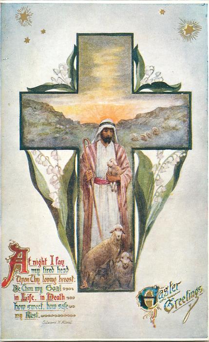 EASTER GREETINGS  Jesus as shepherd, sheep & lambs in cross