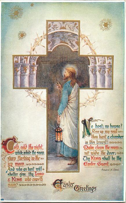 EASTER GREETINGS  inset Jesus with lantern knocking on door