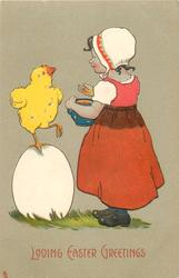 LOVING EASTER GREETINGS  girl feeds corn to chick standing on one leg on enormous egg
