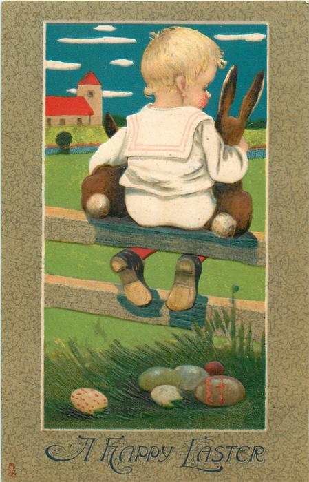 A HAPPY EASTER  boy on fence with two bunnies, looking away